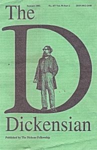 Dickensian magazine, published by the Dickens Fellowship, front cover No457 vol 98 Summer 2002