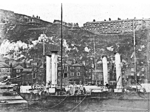 LCDR packet Paddle Steamers Samphire and Maid of Kent at Western Docks with Western Heights barracks on the cliffs behind. Dover Museum
