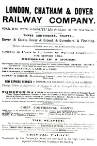 London, Chatham & Dover advert for their cross-Channel service with a mention of the connection to Crystal Palace. Dover Library