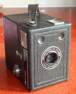 Eastman Kodax Brownie box camera with fixed focus lens, single speed and a fixed aperture. Alan Sencicle