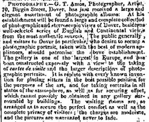 George Amos 70 Biggin Street December 1867 advert stating that his gallery is one of the largest in Europe