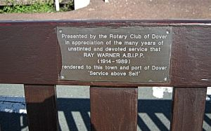 Ray Warner seat - a tribute to Dover's photographer by the Rotary Club on the East side of the Seafront. LS