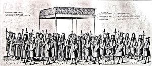 Coronation Canopy being carried by Cinque Ports Barons at the Coronation of Charles I. LS Collection
