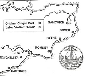 Map showing the Cinque Ports and the two Antient Towns. Dover District Council