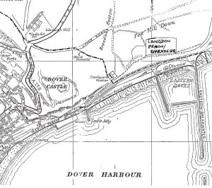 1960s map showing the location of Langdon Prison Barracks site on the Eastern Cliffs