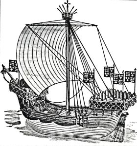 Cinque Ports ship early 14th century note the rudder. Dover Library.