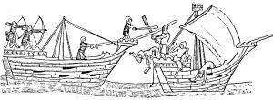 Cinque Ports Sea Battle c14th century. LS Collection