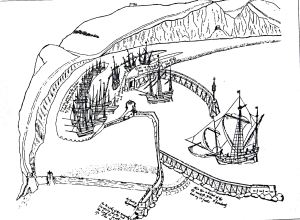 Dover harbour c1540 following the completion of Sir John Thompson's new harbour at the western side of the Bay