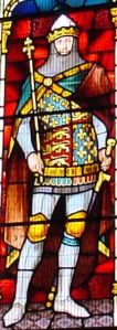 Edward III detail from the Finnis window, Council Chamber, Maison Dieul. Alan Sencicle.