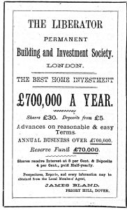 Liberator Building Society Advert of 1887 in Dover's press giving James Bland of Priory Hill as the local agent.