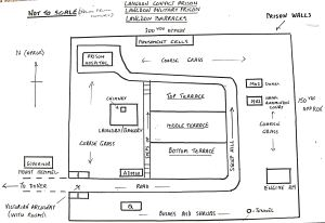 Schematic drawing from memory of Langdon Prison by Major R Corbett. Dover Library