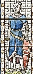 Stephen de Pencester - Lord Warden 1267-1297 - designed by H W Lonsdale 1892 for a window in the Maison Dieu. Dover Museum