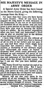 Directive sent by King George VI to all members of the Home Guard on Standing Down - December 1944