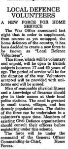Announcement of the formation of the Local Defence Volunteers published 15 May 1940.