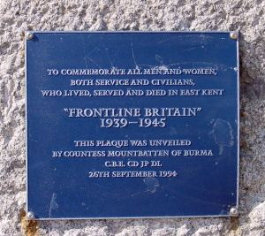 Frontline Britain memorial to those Civilians and Services killed in East Kent 1939-1945 - Dover Seafront. Unveiled by Countess Mountbatten of Burma 20.09.1994. LS