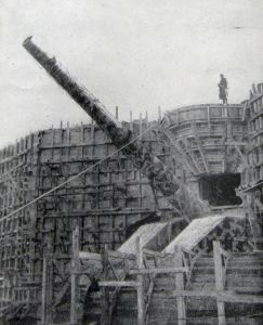 Massive Gun emplacement being erected outside Calais against England Autumn 1943. Doyle Collection