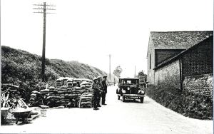 World War II Road Block on the Folkestone Road at Farthingloe. Dover Museum
