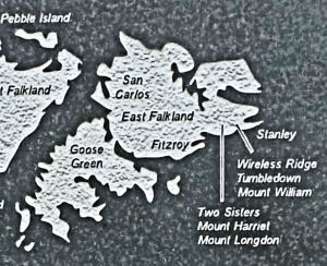East Island, Falkland Islands Map detail - National Memorial Arboretum, Staffordshire