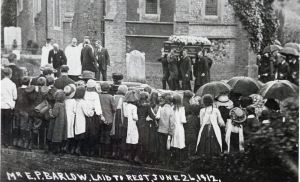 Edward Barlow's funeral 26 June 1912 at SSPeter & Paul Church, River. Harding Family