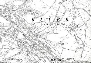 Map of Watling Street, South Eastern & Chatham Railway line between Dover and London, River, Temple Ewell and Kearsney c1919