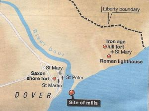 Map showing the Dour estuary c1086 with the location of St Martin-le-Grand, St Mary's & St Peter's Churches, town mills and Iron Age fort on Eastern cliffs. This author's understanding from a talk by Keith Parfitt of Canterbury Archaeological Trust 2016