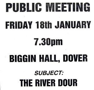 The River Dour Association public meeting called over the poor state of the Dour held in Biggin Hall 18 January 1991