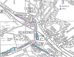 Dour Walk - Temple Ewell & Kearsney Map, Service Publications c1990