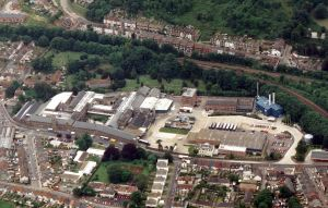 Former Buckland Paper Mill closed 2000 - aerial view in its hayday. Dover Museum