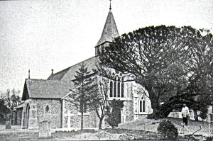 St Andrews Church Buckland 1880s and the famous yew tree after it had been moved. Bob Hollingsbee