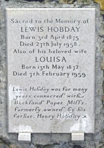 St Andrew's graveyard - Lewis Hobday (1875-1958) who worked at Buckland Paper mill that his father had formerly owned. LS 2011