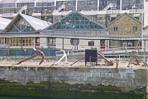 De Bradelei Wharf - former DHB workshops on Cambridge Road and at the side of Wellington Dock with anchors restored by Richard Mahony. Alan Sencicle