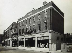 Former Electricity Showroom and offices, Sir John Falstaff pub and the present Fire Station, Ladywell late 1930s. Dover Library