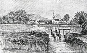 Charlton mill pond on the Dour with Barton Farm on left and Charlton SS Peter and Paul Church on the right. C1850. Sencicle collection