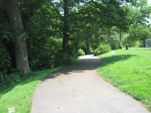 Pencester Gardens serpentine path alongside the River Dour. LS