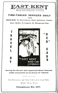 East Kent Road Car Company advert in Dover Gateway 1925. Dover Library