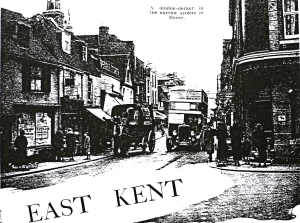 East Kent Road Car Company TD4 double-decker on the narrow streets of Dover following winning the franchise from an article by Alfred Baynton in Bus & Coach magazine August 1937
