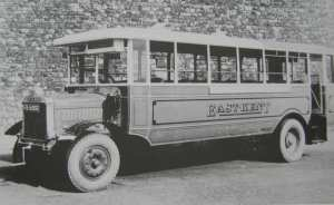 Daimler bus, one of 40 ordered c1919 and given new bodies in 1927 by Shorts of Rochester for the Dover - Canterbury service. LS