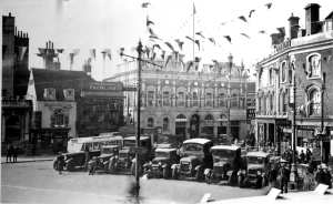 An East Kent bus in Market Square 1935 during the Silver Jubilee celebrations. Dover Museum