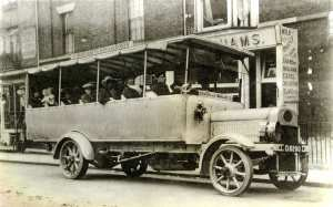 East Kent Road Car Company Leyland bus outside of Woodhams on Castle Street for the Dover - St Margaret's Bay Service c1920. Dover Museum