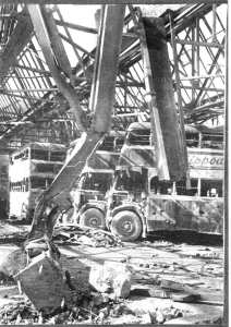 East Kent Road Car Company Russell Street garage Dover following bombing on 23 March 1942. Dover Museum