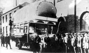 East Kent Road Car Company vehicle with a gas bag on the roof c1918. Dover Museum