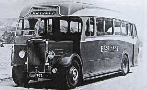 East Kent Road Car Company Leyland Tiger TS8 ordered in 1938 the first and only one to arrive was BFN 797 in March 1940 (Phil Drake). LS