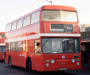 East Kent Bus Company 1969 Daimler Fleetline with Park Royal 72-seat Highbridge body in EKBC poppy red and sporting the NBC logo. Now owned by Phil Drake and Dave Ferguson. Mark Bowerback.