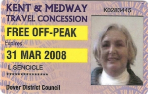 Bus Pass for use in Kent & Medway area issued for the year ending 31 March 2008