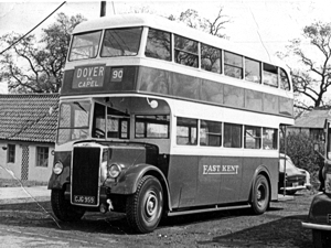 East Kent Road Car Company number 90 Dover - Capel, 53-seater Leyland PD1 with Leyland body work. Dover Museum.