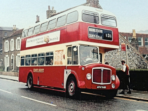East Kent Road Car Company AEC Regent V with Park Royal body delivered in 1964. On London Road, Buckland. Eric Baldock
