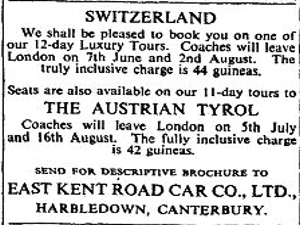 East Kent Road Car Company European coach tours to Switzerland and the Austrian Tyrol advert, 1953.