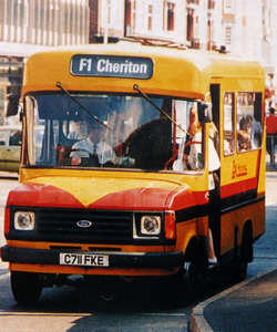 East Kent Bus Company 1986 Ford 190 long-wheel vase transit with Dormobile 16-seat minibus body at Folkestone. Vic Underhill