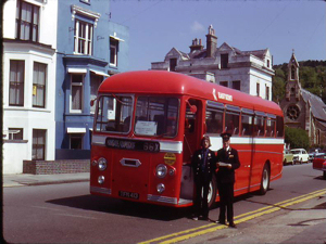 East Kent Road Car Company 1960 AEC Reliance with 41 seat Park Royal body on the first day of the Dover-Deal-Margate run 26 May 1974. left, driver Richard Wallace, right inspector Bill Ratcliffe. R Wallace Collection