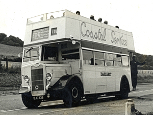 EKRCC Wartime utility open-top Guy double-decker converted in 1960 to an open-top and introduced in Thanet in 1959. It was introduced to Dover for the south coastal route in 1968. Dover Museum